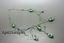Vintage Art Deco Victorian Peacock Eye Foiled Glasses Bead Necklace