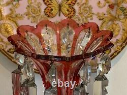 Vintage Bohemian Cranberry Cased Cut Glass Mantle Luster