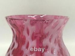 Vintage Cranberry Red & White Opalescent Glass Waffle/Lattice Toothpick Holder