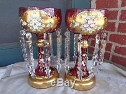 Vintage Cranberry Venetian Glass Applied Porcelain Flowers Mantle Lusters Set