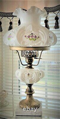 Vintage FENTON Art Glass Student Lamp-VIOLETS IN THE SNOW-Artist Signed M. KUNZ