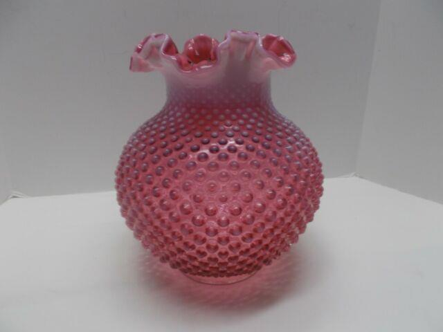 Vintage Fenton Glass Hobnail Ruffled Cranberry Opalescent Lamp Shade 10 Tall