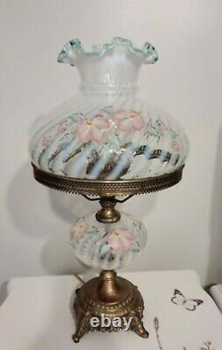 Vintage FENTON Hand Painted Artist Signed Glass Parlor Lamp Gone with Wind Style
