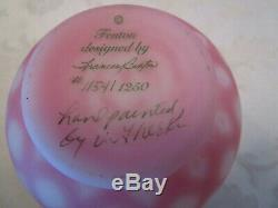 Vintage FENTON Perfume Bottle Hand Painted Heart Stopper Burmese SIGNED
