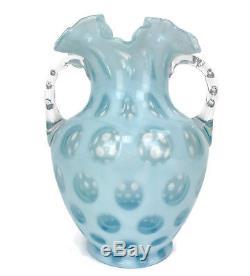 Vintage Fenton Art Glass Blue Coin Dot Double Handled Opalescent Vase 8 3/4