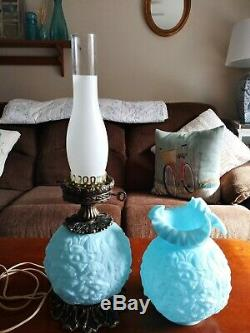 Vintage Fenton Blue Poppy Gone With The Wind Hurricane Parlor Glass 3-way Lamp