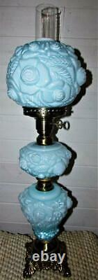 Vintage Fenton Cased Blue Glass Puffy Rose 3 Part GWTW Electric Table Lamp 1973