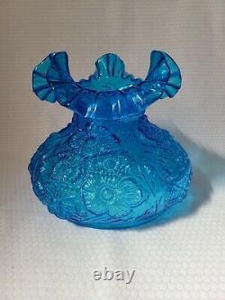 Vintage Fenton Glass Blue Poppy Flowers Ruffled Lamp Shade