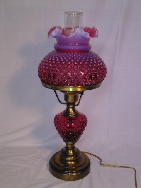 Vintage Fenton Glass, Cranberry Opalescent Hobnail Student / Table Lamp