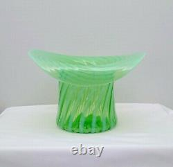 Vintage Fenton Green Opalescent Spiral Optic Swirl Glass Large 9 Top Hat 1939