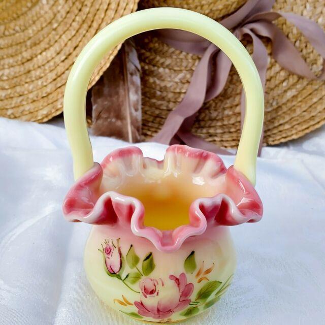 Vintage Fenton Hand Painted Signed Burmese Glossy Glass Brides Basket Pink Roses