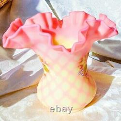 Vintage Fenton Hand Painted Signed Burmese Satin Glass Wide Vase Diamond Optic