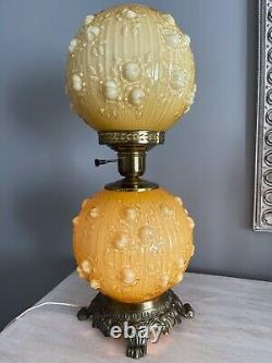Vintage Fenton Honey Amber Cased Glass Cabbage Rose Gwtw Parlor Lamp 20