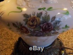 Vintage Fenton Milk Art Glass Puffy Wild Rose GWTW 3 Way Electric Table Lamp