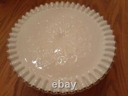 Vintage Fenton Silver Crest Spanish Lace Pedestal Milk Glass Wedding Cake Plate
