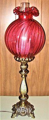 Vintage Fenton Victorian Brass Banquet Lamp withCranberry Swirl Ruffled Shade