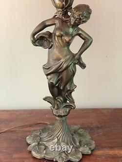 Vintage Figural Lady Stained Glass Tiffany Style Art Nouveau Victorian Decor