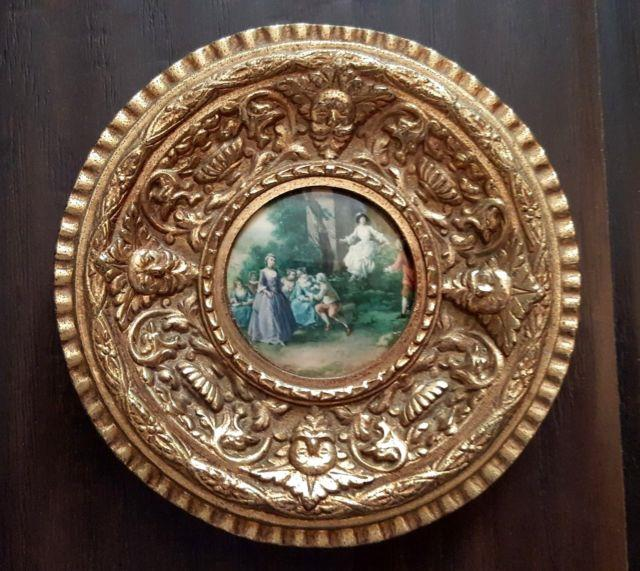Vintage French Ormolu Repousse Brass Frame Glass Covered Victorian Art Print