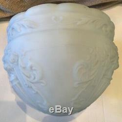 Vintage Large Victorian Art Deco White Milk Glass Shade Ceiling Light Fixture