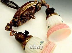 Vintage Light Fixture Hanging Brass Victorian Art Glass Lamp Shades Ceiling