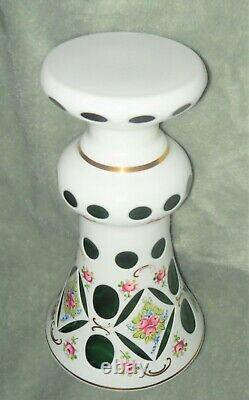 Vintage Moser Bohemian Czech Mantle Vase White Floral Green Glass