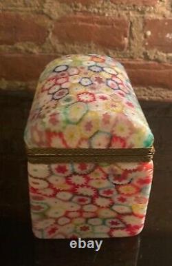 Vintage Murano Glass Fratelli Toso Millefiori Trinket Box Vanity Casket Trunk