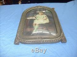 Vintage Ornate Frame Curved Glass Art Victorian Picture Frame Carved GIRL 18x12