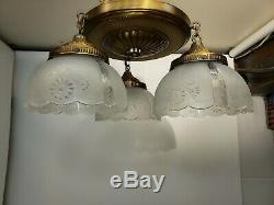 Vintage Pan Light Fixture Art Nouveau Victorian Style Farmhouse Flush Mount