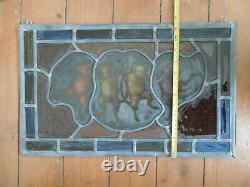 Vintage Stained Glass Fragment of Dancing Mice, Victorian, Medieval, Arts, Crafts