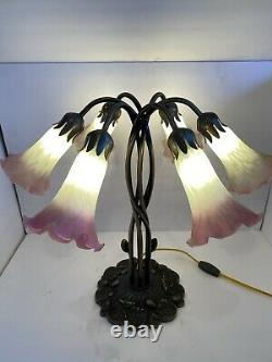 Vintage Tiffany Style Lilly Pad Lamp 6 Light Stained Art Glass Pink Tulip Shades