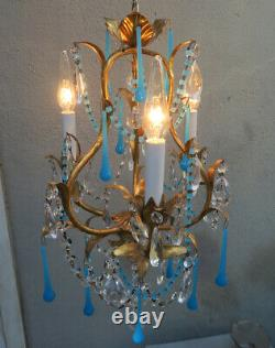 Vintage Tole lamp Italy Art OPALIN glass SWAG Brass Birdcage crystal Prisms 3lit