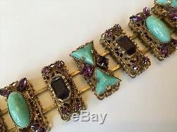 Vintage Victorian Art Glass Czech Purple And Green Rhinestones Panel Bracelet