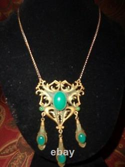 Vintage Victorian Art Nouveau Jade Glass Cab Drippy Necklace Old Estate