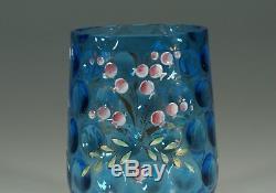 Vintage Victorian Blue Coin Dot Glass Enameled Floral Pickle Castor Liner c. 1890