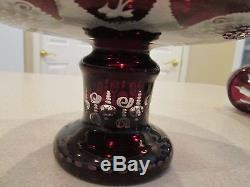 Vintage Victorian Bohemian 2 pc. Ruby cut Epergne centerpiece vace