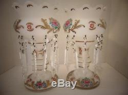 Vintage Victorian Bohemian Floral Vases Glass Crystal Drop Chandelier Prisms
