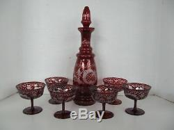 Vintage Victorian Bohemian Ruby Red Decanter Set, Stopper & 8 Stemware Cordials