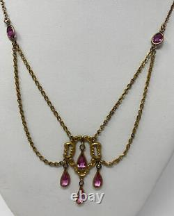Vintage Victorian Deco Art Nouveau Crystal Pink Glass Dangle Festoon Necklace