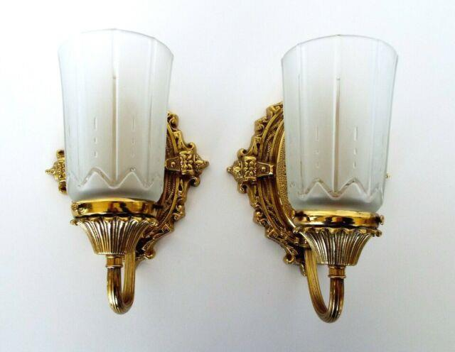 Vintage Wall Sconces Polished Brass Frosted Glass Shades Victorian Art Deco Pair