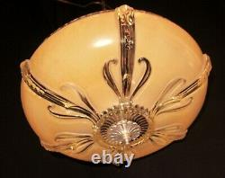 Vtg Art Deco Era Semi Flush Chandelier Ceiling Fixture Glass Shade 40's