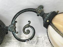 Vtg Brass Wall Sconce Tulip Slag Glass Shade Victorian Art Deco Nouveau Style