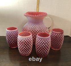 Vtg Fenton Art Glass Opalescent Cranberry Hobnail Pitcher & 4 Tumblers