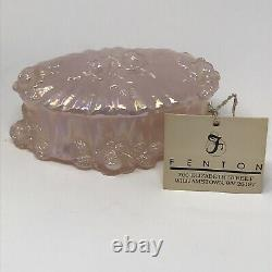 Vtg Fenton Pink Opalescent Pink Iridescent Vase w Porcelain Roses + Trinket Box