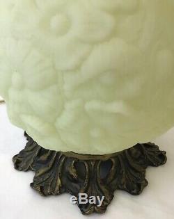 Vtg Fenton Uranium Vaseline Glass GWTW Table Lamp Satin Custard Poppy Glow Green