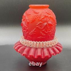 Vtg, Fenton for L. G. Wright Ruby Satin Rose Embossed Fairy Lamp Candle Holder
