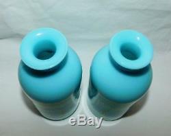 Vtg Portieux Vallerysthal Blue Opaline Glass Vanity Lotion Bottles France