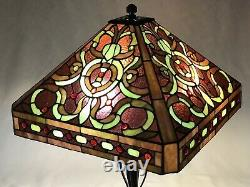 Vtg Stained Glass Lamp Shade Purple Green Red Victorian Arts & Crafts Deco 17