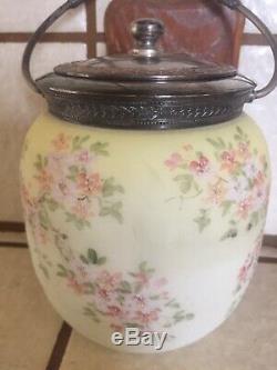 Vtg Victorian MOUNT/MT WASHINGTON CROWN MILANO Glass Biscuit Cookie Jar