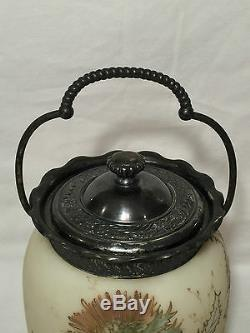 Vtg Victorian MOUNT/MT WASHINGTON CROWN MILANO THISTLE Glass Biscuit Cookie Jar