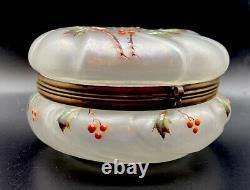 Wavecrest Frosted Glass Enameled Holly Motif Large Dresser Puff Box NR